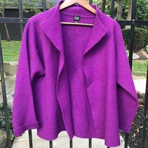 Eileen Fisher Boucle wool open cardigan in purple